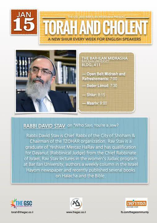 Torah & Cholent: Rav David Stav 1