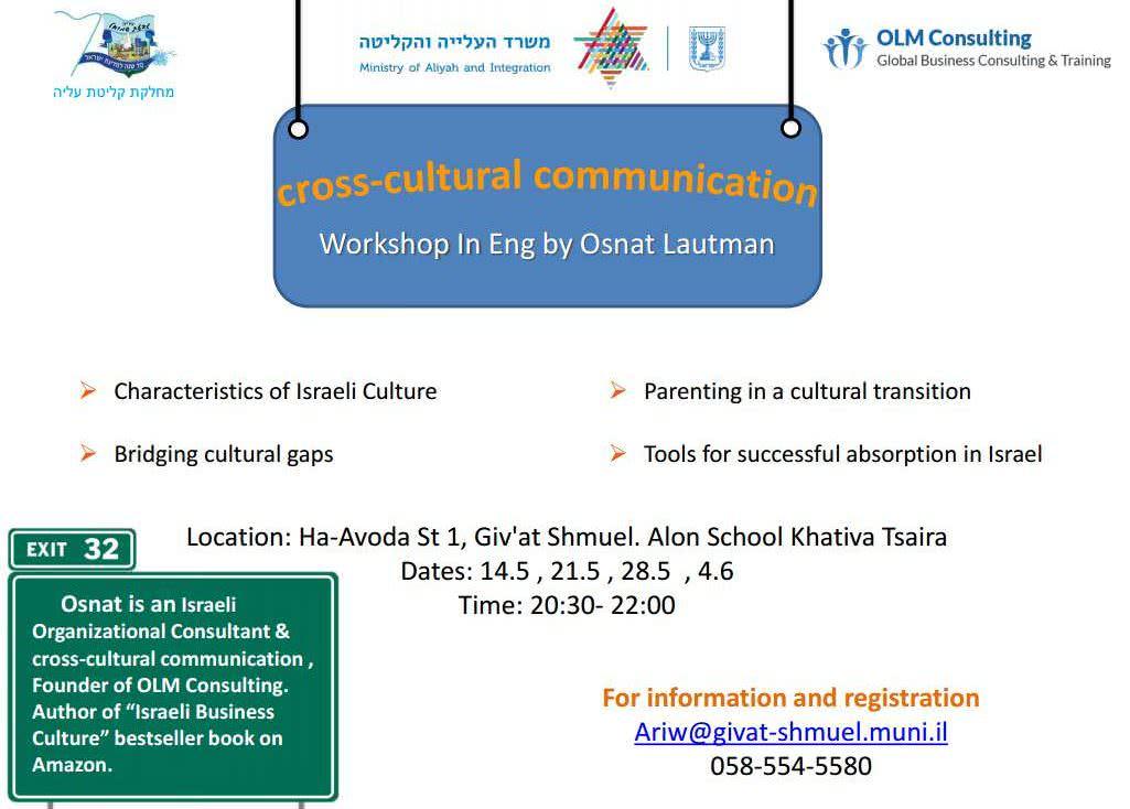 Aliyah Workshop: Cross Cultural Communication 1